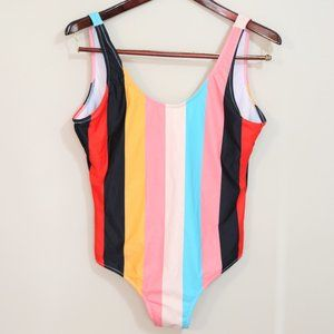 Colourful striped bathing suit low back cheeky
